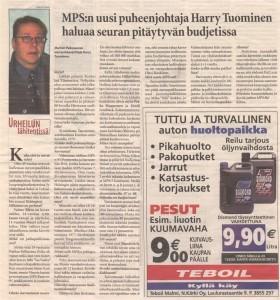 Harry Tuominen ehti toimia hetken myös Malmin Palloseuran puheenjohtajana. Ohessa Tuomisen haastattelu vuodelta 2002.